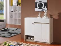 鞋柜现代简约门厅柜玄关柜对开门黑白烤漆宜家大容量组装木质防尘