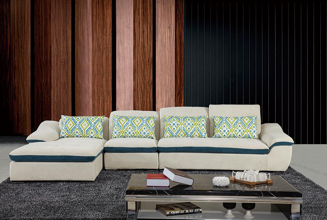 现代简约大小户型布艺沙发可拆洗 时尚客厅转角布沙发组合