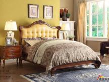 欧式床美式黄色真皮床实木床