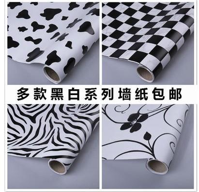 黑白花方格斑马纹牛奶防水自粘墙纸壁纸